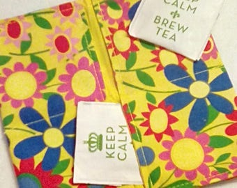 Tea Bag Wallet, BRIGHT FLOWERS, Four Pockets, Handmade, FREE Shipping USa, Holds Tea & Sweetener - Also Travel Jewelry Wallet