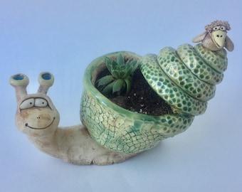 Snail Planter with bird