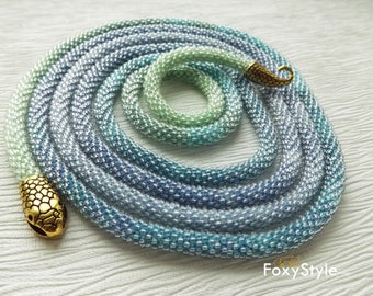 long statement necklace snake necklace crochet blue necklace for wife with it necklace gift women serpent necklace modern blue necklace