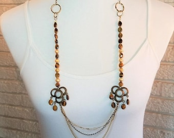 Necklace Tigereye, Freshwater Pearl, & Brass