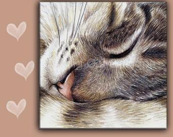 CAT SPOON REST - Cat Tile - Cat Trivet -  Tabby Cat Art - Cat Sign, Cat Gift