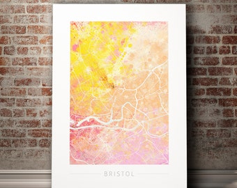 Bristol Map - City Street Map of Bristol, England - Art Print Watercolor Illustration Wall Art Home Decor Gift - Nature Series PRINT
