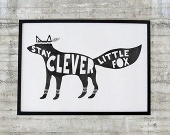 Woodland Nursery Art , Black and White Nursery Art, Stay Clever Little Fox, Fox Printable Nursery Art, Native Tribal Woodland