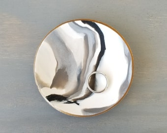 Bold Black and White Marbled Ring Dish