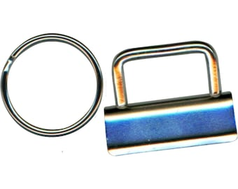 """Key Fob Hardware, 1.25"""" Nickel, Clamps and Split Rings, Lazy Girl Key Fob Hardware"""