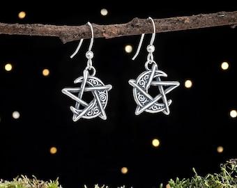 Sterling Silver Crescent Moon Pentagram Earrings - Double Sided