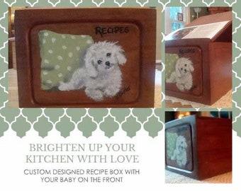 Recipe box,pet portrait,custom recipe box,cherry recipe box,oak recipe box,unusual recipe box,cooking,baking,recipes,