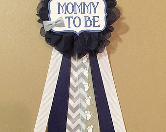 Gray Chevron Navy Baby Shower Pin Mommy To Be Pin Flower Ribbon Pin Corsage  Gray Glitter