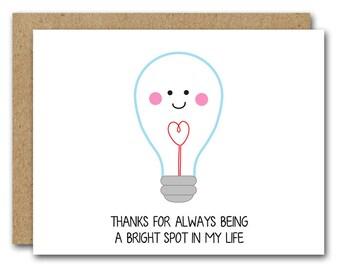 PRINTABLE Funny Thank You Card, Lightbulb Card, INSTANT DOWNLOAD, Friend Card, Boyfriend Card, Husband Card, Love Card, Thank You Card