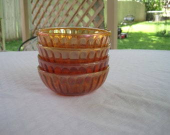 Set Of Four Vintage Iridescent Bowls 1920,s