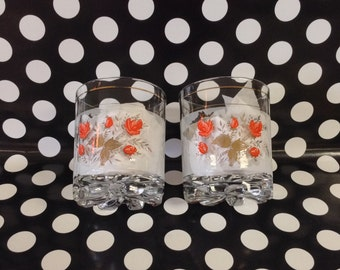 Shining Roses~Silver Leaves and Coral Roses~Highball Glasses~Set of 2