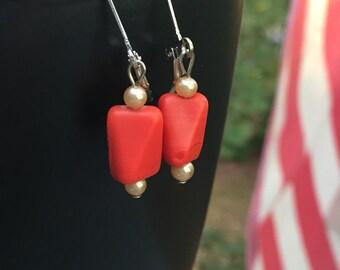 Single orange bead, gamely earrings, UT earrings, sport earrings, edgy earrings, modern earrings