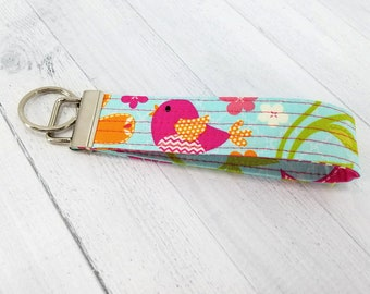 Key Wristlet - Key Fob - Key Ring - Keychain - Vera Bradley style - Bird - Gift for Teacher, Dog Lover, Best Friend, Mom, Pet Sitter. Easter