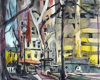 Watercolor and Ink Painting of a City Park - Be There - Original Landscape Painting by Jen Tracy