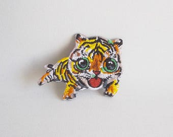 Tiger patch, Iron on tiger patch, Iron on patch, Wild animal patches, Embroidered patch tiger applique, Patches for jacket, Animal patches