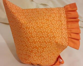 Pixie Bonnet Bright Orange with Orange Ruffle