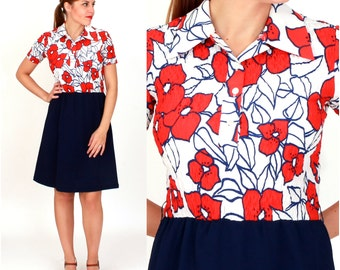 Vintage 1960s Bright Shirt-Waist Dress with Red and White Floral Pattern and Navy Skirt | Small