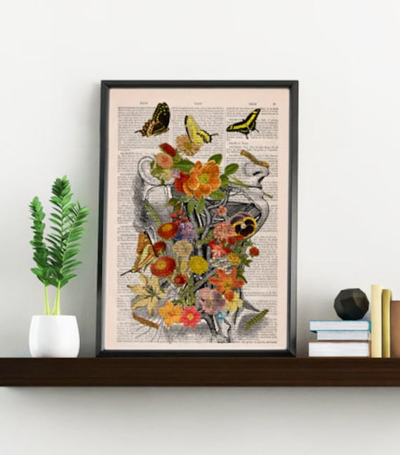 Art Print Flowery head collage Printed on Vintage Dictionary Book page. Wall decor art, Anatomy decor, Flower SKA087