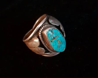 Large silver ring and turquoise - Turquoise and silver ring
