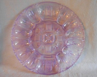 Purple Glass Egg Plate, Hand Painted Egg Platter, Upcycled Deviled Egg Plate with Center Relish Tray for Easter or Everyday
