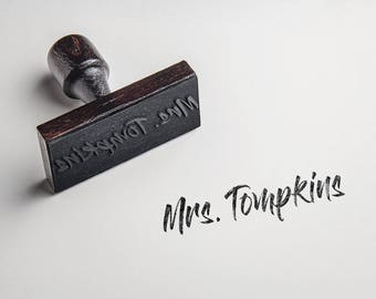 FREE SHIPPING! Custom Name Stamp - Signature - Self Inking or Wood Handle - You Choose Font - Custom Stamp SKU 1741