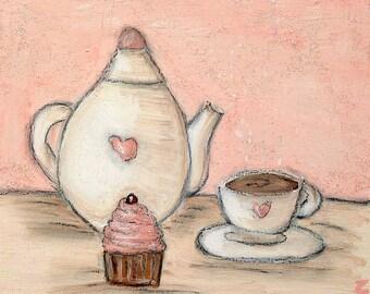 Mädchenhaft Tee Kunstdruck