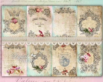 Victorian French - background - digital collage sheet - set of 8 - Printable Download