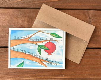 Psalm 34:8 - Taste and See Scripture Card