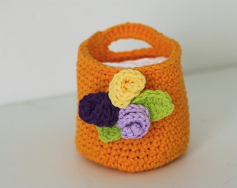 Crochet Bright Orange Basket with Face Scrubbies Makeup Remover Pads Wash Clothes Face Cloths Baby
