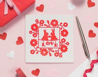 Cute I Love You Card - Valentines Card for Rabbit Lover - Valentines 2018 - 1st Anniversary Love Bunnies Card – Love Note for Wife – Wedding