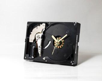 Computer Desk Clock - Recycled Hard Drive Clock - Industrial Clock - Unique Wall Clock - Unique Gift - Boyfriend gift - Husband gift