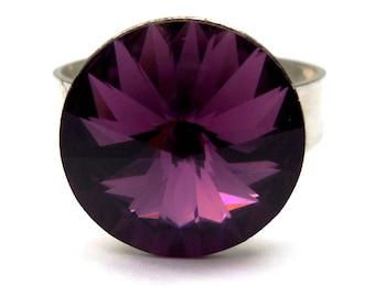 Ring silver Sterling dangle plum Swarovski Crystal and black case