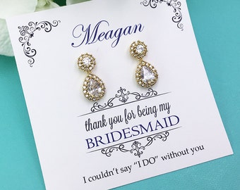 Gold Bridesmaid Earrings, Gold Bridesmaid Earrings Set, Bridesmaid Jewelry Gift, Bridesmaid Earrings, Jaelynn Gold Bridesmaids Earrings