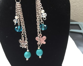 Turquoise ,crystal ,butterfly earrings