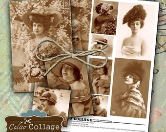 1900s Vintage Ladies in Hats Collage Sheet Altered Art Journal Page Digital Collage Sheet Scrapbooking Instant Download Mixed Media Art