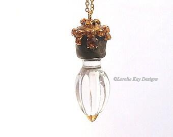 Sun Catcher Necklace Topaz Color Rhinestones Long Layering Pendant Glass Necklace