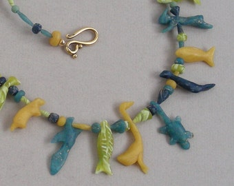 Menagerie Amulet necklace in polymer clay