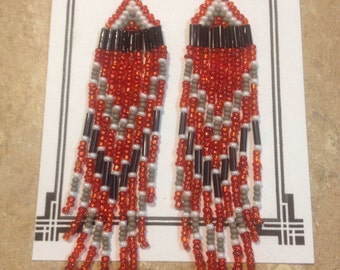 Long Sparkly Red Earrings