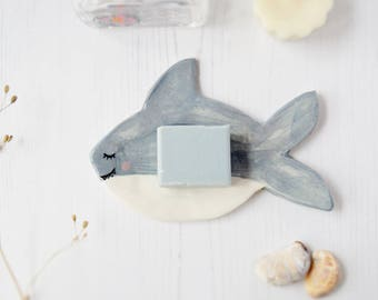 Shark soap dish Porcelain jewelry tray Ceramic ring dish Bathroom decor Pottery trinket dish Gift for women Decorative tray New home gift