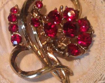 Vintage Mid Century RED Brooche