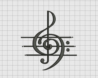 Music Art Treble Clef Musical Note Embroidery Design in 2x2 3x3 4x4 5x5 and 6x6 Sizes