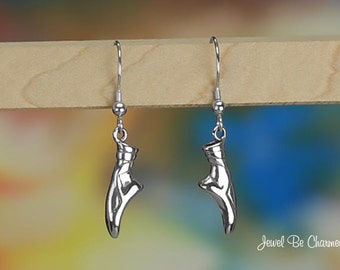 Sterling Silver En Pointe Ballet Slipper Earrings Fishhook Solid .925