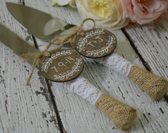 burlap and lace wedding cake knife, laurel wreath wedding cake cutting set, rustic reception decor, country reception decorations