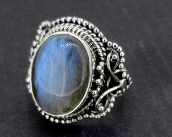 Natural Labradorite Ring 925 Sterling Silver Size 7 Blue Ethnic Handmade Jewelry India #15072-3