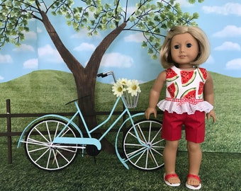 American made Spring or Summer doll shorts and top for American Girl doll or similar 18 inch doll
