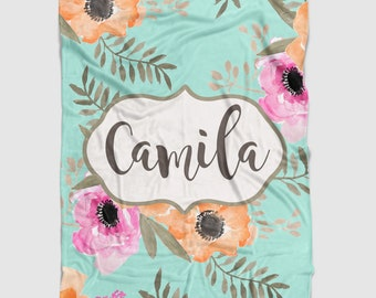 Personalized Tropical Floral Minky Baby Blanket in Pink, orange and turquoise Watercolor Floral. It's so Buttery soft!