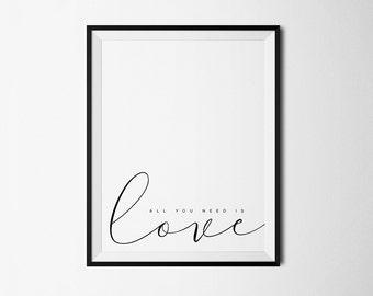 All you need is love, Beatles Lyrics, Printable Art, Love print, Beatles quotes, Love print quote, Love printable, Beatles quote