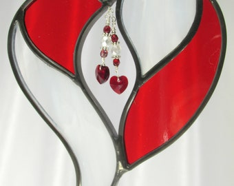 Red and White Two Hearts as One Stained Glass Suncatcher ready to ship