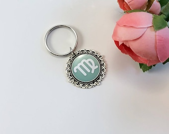 Monogram keychain, pink keychain, custom keychain, gift for her, mint and silver keychain, mint keychain, christmas gift, gift for bff