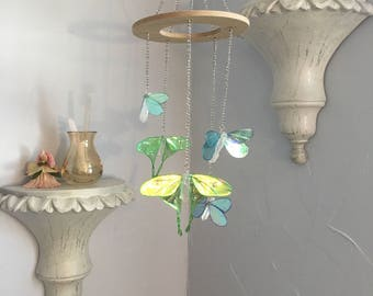 Butterfly Mobile, Hanging Ornament, Boho Chic, Home Decor, Luna Moth, Chakra Hanging, Crystal Butterflies, Dragonflies, Boho Style